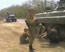 A group of Russian soldiers. Grozny, Chechnya in 1995. Stock Footage