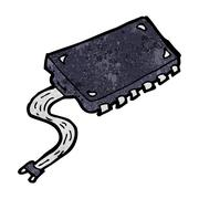 cartoon computer chip - stock illustration