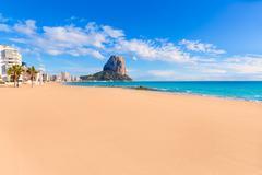 calpe playa arenal bol beach near penon ifach alicante - stock photo