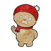 Stock Illustration of cartoon teddy bear in winter hat and scarf