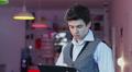 Man reading tablet pc, standing businessman HoReCa business HD Footage