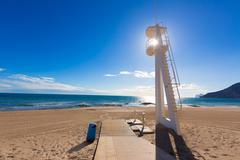 Calpe playa arenal bol beach near penon ifach alicante Stock Photos