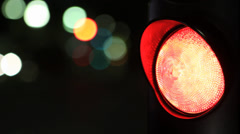 FRANCE Nice red traffic light by night Stock Footage