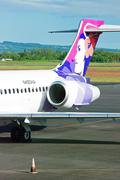plane at hilo international airport waiting for a boarding - stock photo
