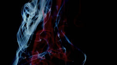 Smoke blue red white black background Stock Footage