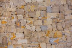 Masonry wall textre of handmade stones traditional style Stock Photos