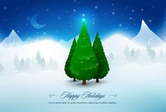 Pine christmas trees in snow Stock Illustration