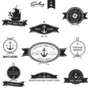 Vintage retro nautical badge set | editable eps 10 vector - stock illustration