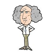 Cartoon big hair lecturer man Stock Illustration