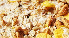 Corn flakes and muesli close up Stock Footage