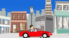 Driving a Sports Car on a City Street Stock Footage