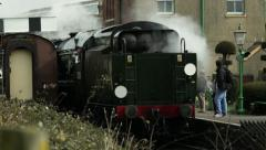 Steam Engine Arriving at Station Stock Footage