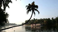 Tourist and House boat backwaters, Kerala, India, Asia Stock Footage