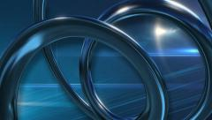 News Style Background - Rotating Coils and Lens Flares Blue Background Stock Footage