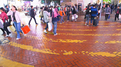 Time Lapse  Hong Kong Times square zebra cross street scene crowds China Asia Stock Footage