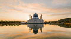 Reversed Sunrise Likas Mosque - Zoom In Stock Footage
