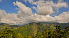 Moving Cloud Over Mountain Valley Zoom Out Stock Footage