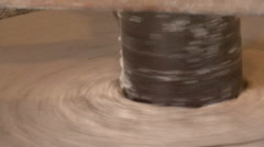 Millstone turning the in the old watermill Stock Footage