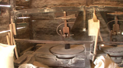 Inside the traditional water mill Stock Footage