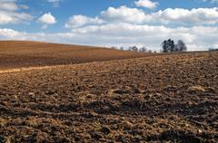Undulating plowed field in early spring Stock Photos