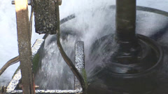 Power of water spinning the water wheel Stock Footage