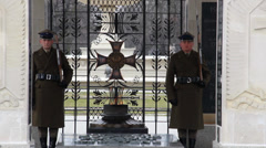 Warsaw, Poland. Soldiers at The Tomb of the Unknown Soldier Stock Footage