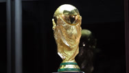 Stock Video Footage of World Cup Trophy 2014 exposed to the people
