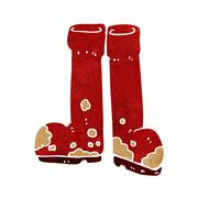 cartoon muddy boots - stock illustration