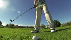 Slow Motion, Close Up Golfer Hitting Chip Shot Stock Footage