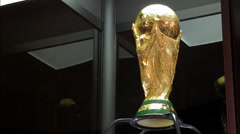 Low angle shot of the World Cup Trophy - stock footage