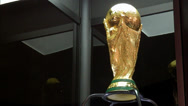 Stock Video Footage of Low angle shot of the World Cup Trophy