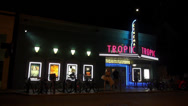 Stock Video Footage of Tropic Cinema movie theatre by night