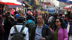 Time Lapse  Hong Kong local people shopping at Garden or Fa Yuen street China Stock Footage