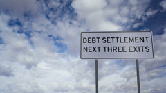 Debt Settlement Sign Clouds Timelapse Stock Footage