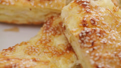 Cheese pie with sesame seed Stock Footage