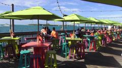 Sunset celebration pier Key West - stock footage