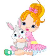 little girl hugging toy bunny - stock illustration