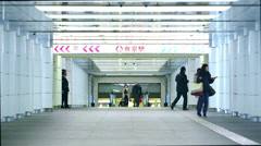 Commuters in underground station Stock Footage