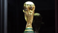 Stock Video Footage of The world cup trophy isolated on black background