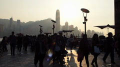 Hong Kong Chinese tourists at Avenue of Stars China Asia - stock footage