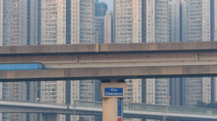 Time Lapse  Hong Kong Airport Express Train passing to Tsing Yi island China Stock Footage