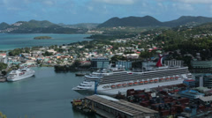 Cruise ships in port Castries St Lucia Caribbean HD 1539 Stock Footage