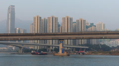 Time Lapse  Hong Kong MTR metro Train passing to Tsing Yi island China Asia Stock Footage