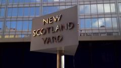 New Scotland Yard famous revolving sign. Editorial Use Only. Stock Footage
