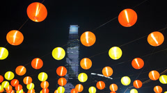 Chinese lantern at Chinese New Year decoration at night Stock Footage