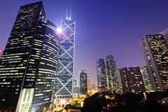 Commercial district in hong kong Stock Photos