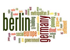 berlin word cloud - stock illustration