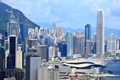 Hong kong commercial district Stock Photos