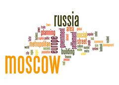 moscow word cloud - stock illustration