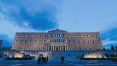 4K Athens Greece parliament building wide angle day to night timelapse Stock Footage